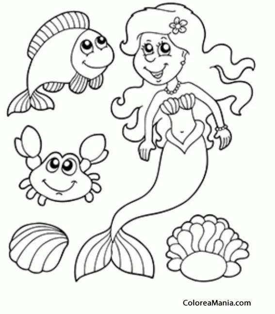 Colorear Sirena Con Pececillos Y Dos Ostras Animales