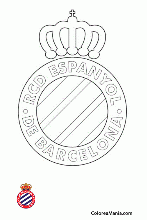 Colorear Real Club Deportivo Español (Escudos equipos de Fútbol ...