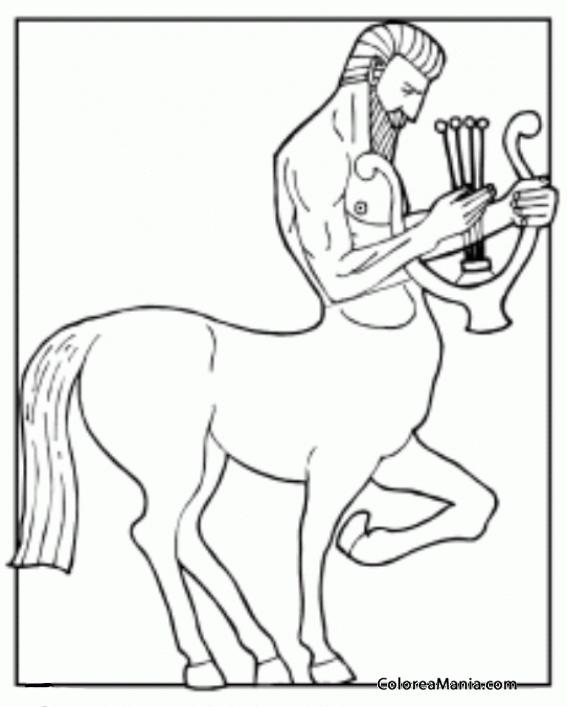 Colorear Centauro con arpa Animales Fantsticos dibujo para