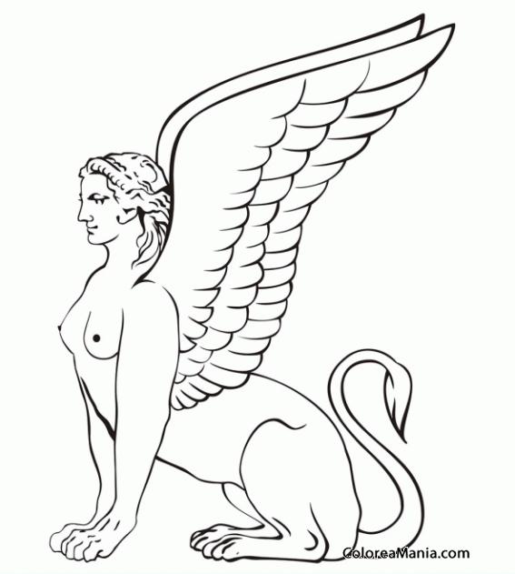 Colorear Esfinge sentada (Animales Fantásticos), dibujo para ...