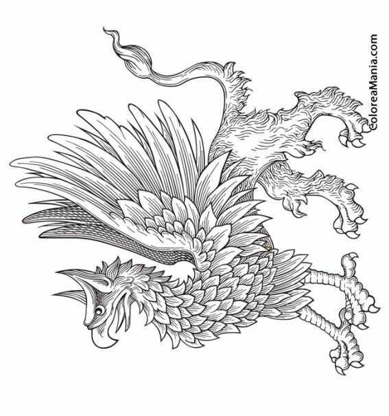 Colorear grifo de perfil animales fantsticos dibujo for Grifo dibujo
