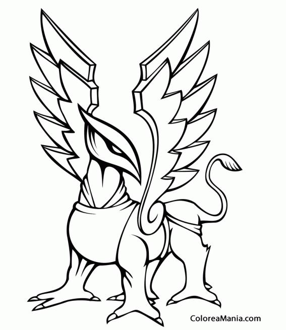 Colorear grifo de frente animales fantsticos dibujo for Grifo dibujo