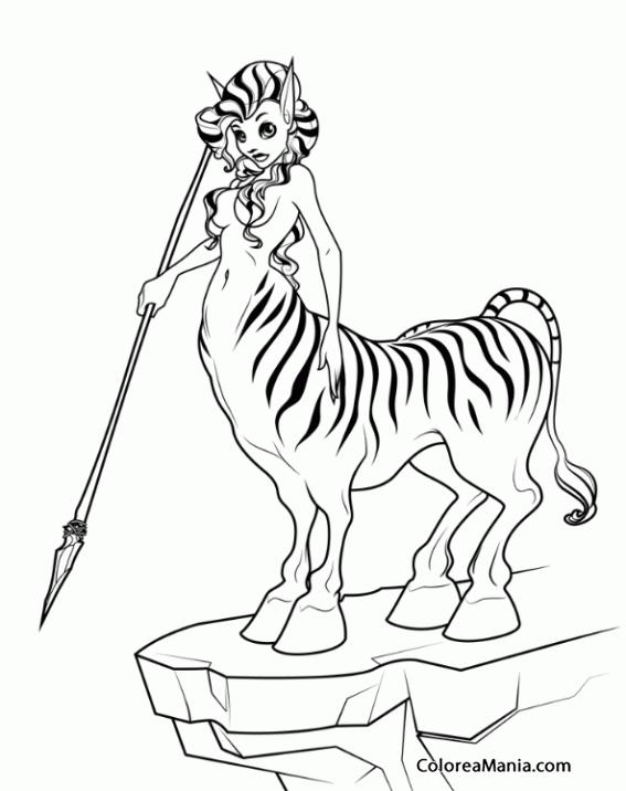 Colorear Mujer Centauro Atigrada Animales Fantásticos Dibujo Para