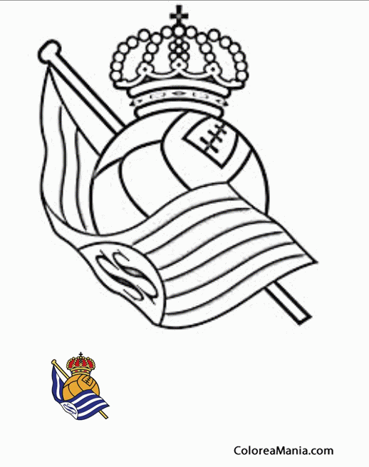 Colorear Real Sociedad Escudos Equipos De Fútbol Dibujo