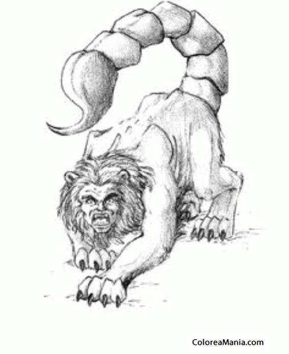 Colorear Mantcora cabeza humana el cuerpo rojo y la cola de un
