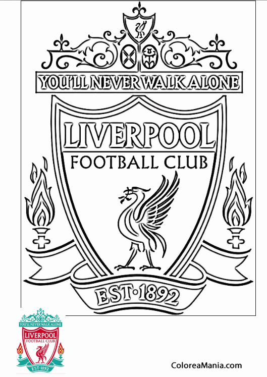 Colorear Liverpool Football Club Escudos Equipos De Fútbol Dibujo Para Colorear Gratis