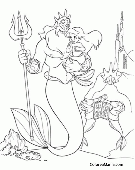 Colorear El Rey Tritón Con Ariel En Brazos La Sirenita
