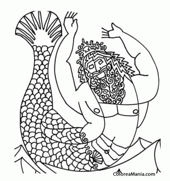 Colorear Tritón, hijo Poseidón y Anfítrite 2 (Animales Fantásticos ...