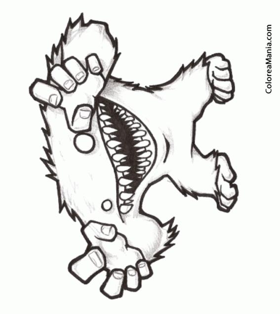 Colorear Yeti de grandes dientes Animales Fantsticos dibujo
