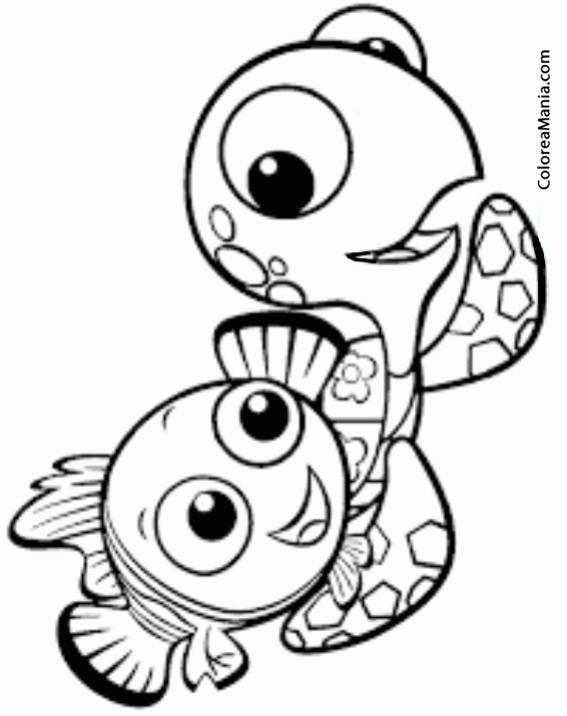 Colorear Dory Y Tortuguita Buscando A Dory Dibujo Para Colorear