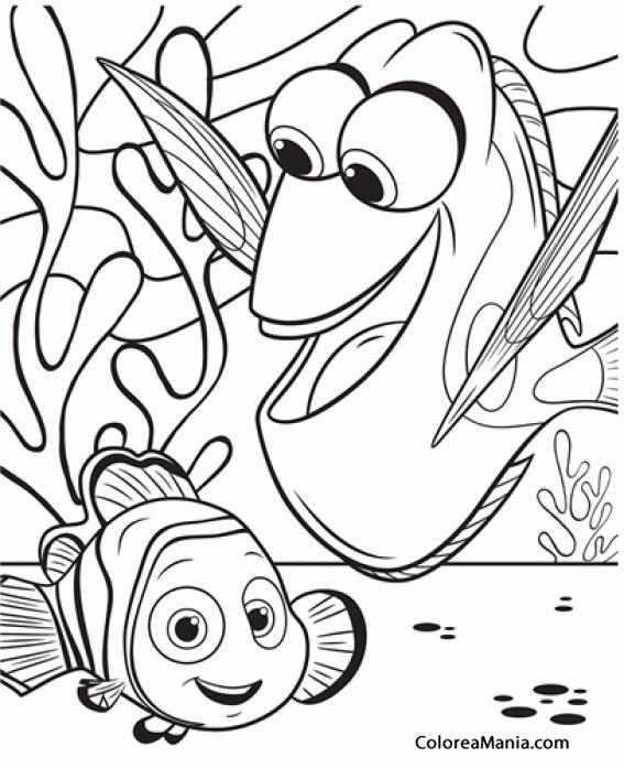 Colorear DOry y Nemo con fondo de algas (Buscando a Dory), dibujo