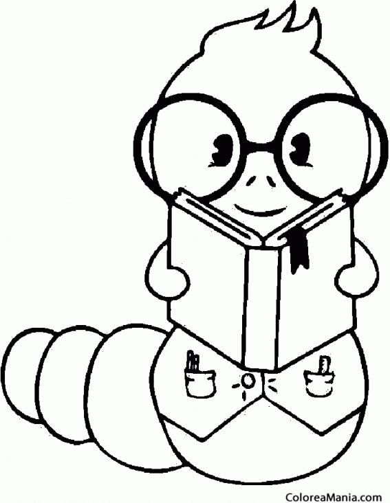 Colorear Gusano leyendo un libro (Insectos), dibujo para ...