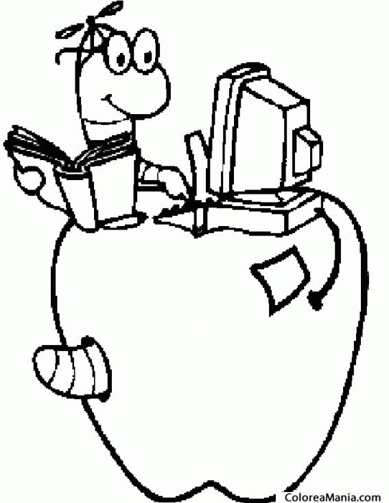 Colorear Gusano trabajando en manzana (Insectos), dibujo para ...