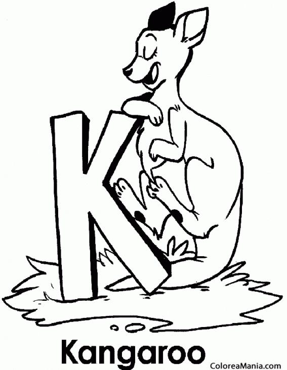 Colorear Canguro. K de Kangaroo (Animales de la Sabana), dibujo para ...