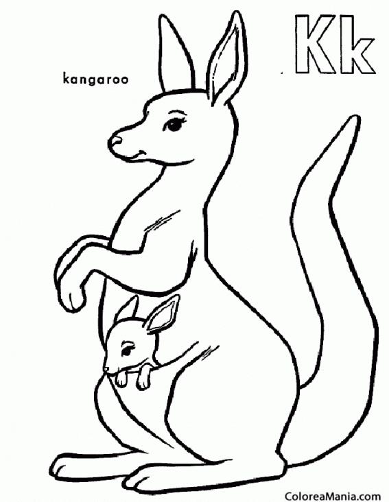 Colorear K de Kangaroo. Canguro (Animales de la Sabana), dibujo para ...