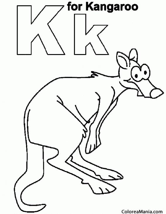 Colorear K de kangaroo. Canguro 3 (Animales de la Sabana), dibujo ...