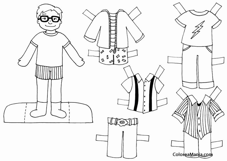 Colorear Jovencito Con Gafas Muñecas Ropa Dibujo Para