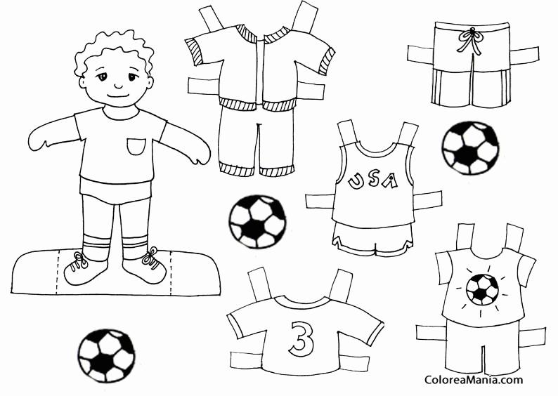 Dibujos De Munecas Para Colorear E Imprimir: Colorear Niño. Equipación Fútbol (Muñecas. Ropa), Dibujo