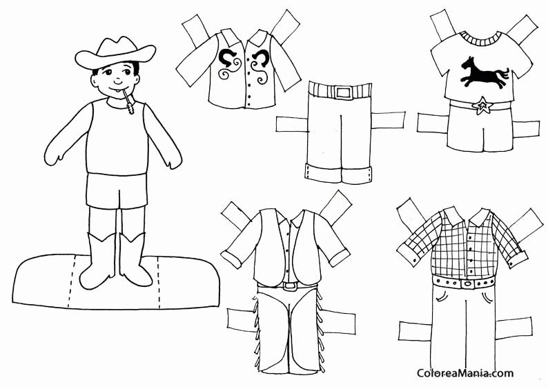 Colorear Niño Con Sombrero Vaquero Muñecas Ropa Dibujo