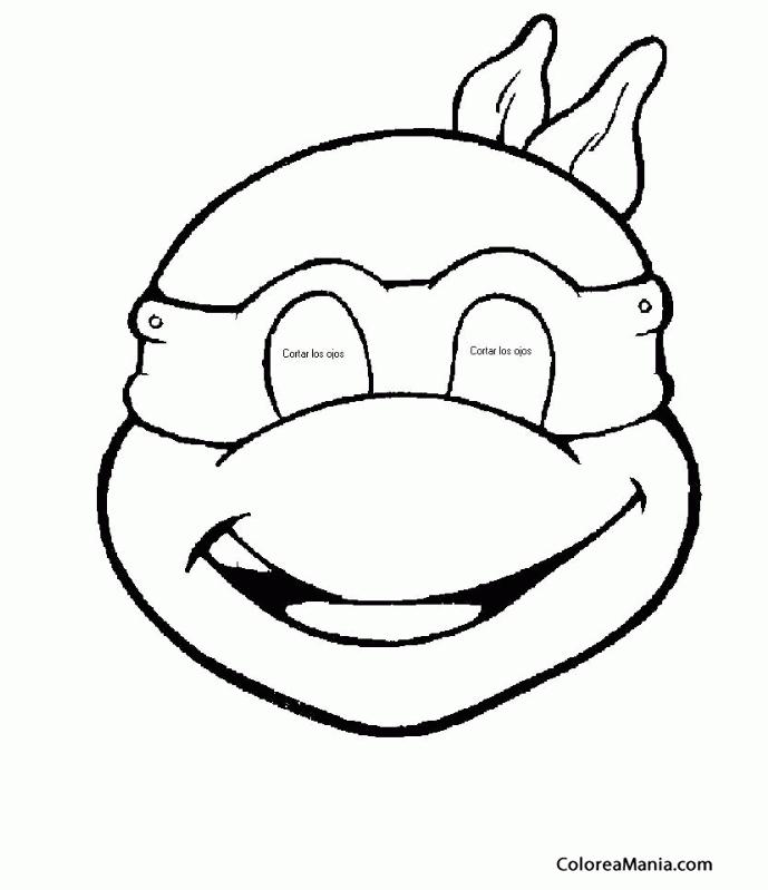 Colorear Tortuga Ninja Máscara Careta Antifaz Dibujo