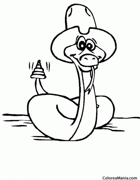 Colorear Serpiente Con Sombrero Reptiles Dibujo Para