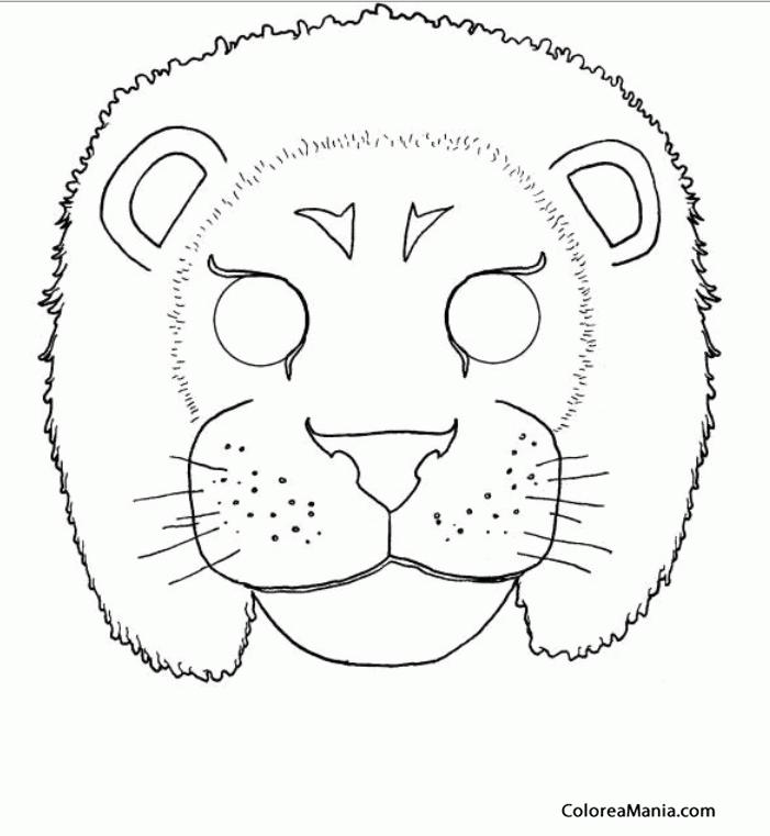 Colorear Careta Rey León Máscara Careta Antifaz Dibujo Para