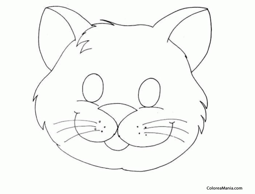 Colorear Careta Gato (Máscara. Careta. Antifaz ), dibujo para