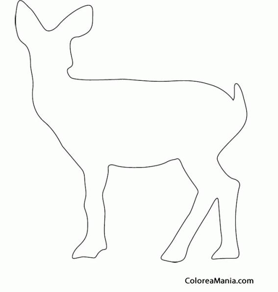 Colorear silueta cervatillo animales del bosque dibujo - Siluetas para imprimir ...