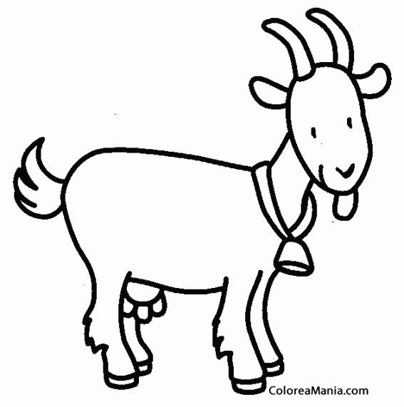 Colorear Cabra Con Campanita (Animales De Granja), Dibujo