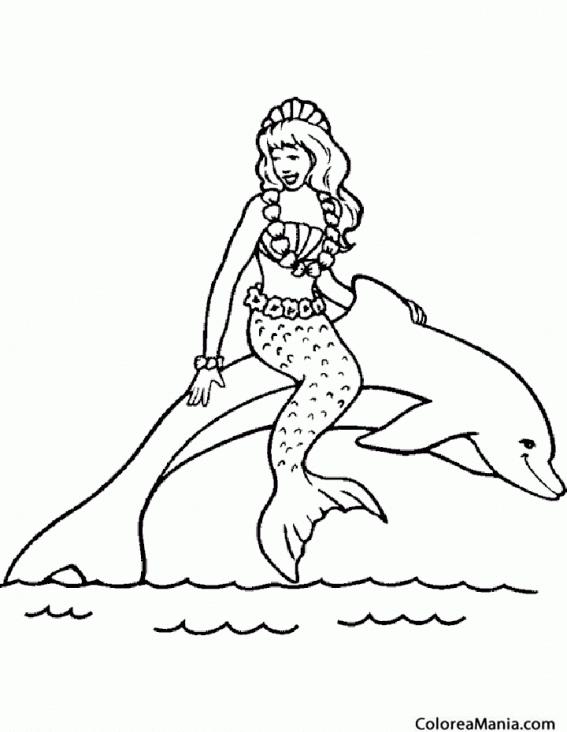 Colorear Delfín y sirena (Animales Marinos), dibujo para colorear gratis