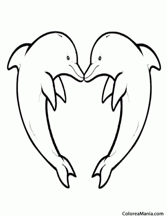 Colorear Delfines formando un corazón (Animales Marinos), dibujo ...