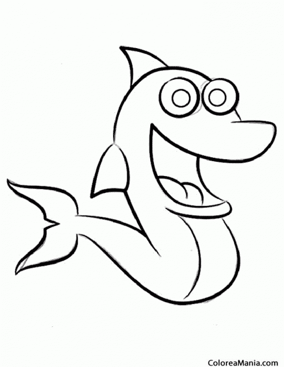Colorear Delfín De Ojos Redondos Cómic Animales Marinos Dibujo