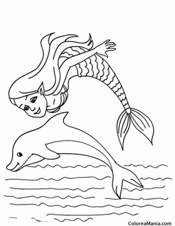 Colorear Delfín y sirena saltando juntos (Animales Marinos), dibujo ...