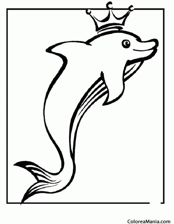 Colorear Delfn con corona de Rey Animales Marinos dibujo para