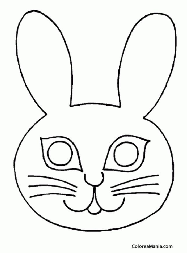 Colorear Máscara conejo ojos grandes (Máscara. Careta. Antifaz ...