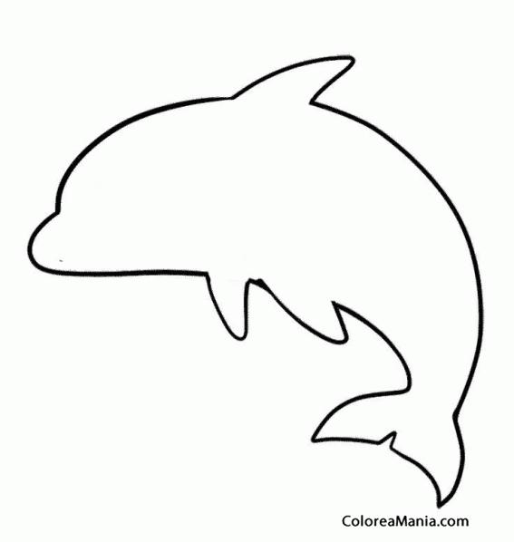 Colorear Silueta Delfín 2 (Animales Marinos), dibujo para colorear