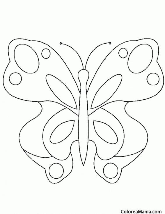 Colorear Mariposa plantilla (Insectos), dibujo para colorear gratis