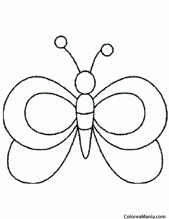 Colorear Mariposa, silueta (Insectos), dibujo para colorear gratis
