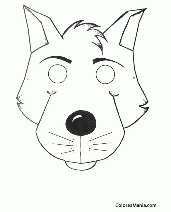 Colorear Careta de Lobo joven (Máscara. Careta. Antifaz ), dibujo ...