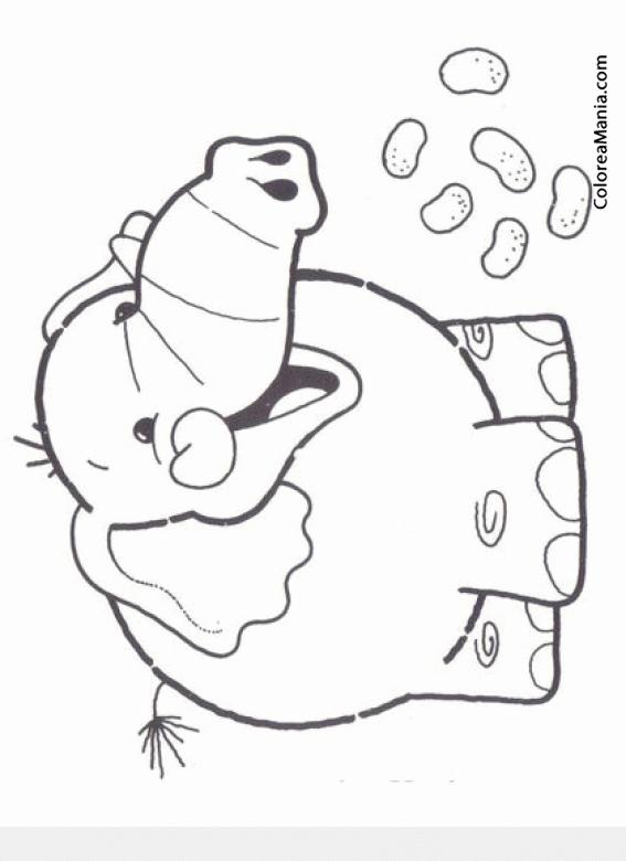 Colorear Elefante comiendo cacahuetes (Animales de la Sabana ...