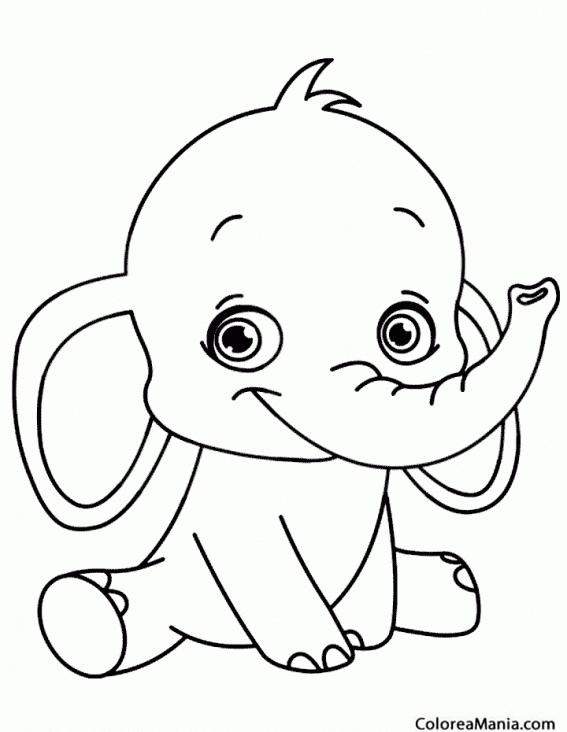 Colorear Elefante Bebé Sonriendo Animales De La Sabana Dibujo