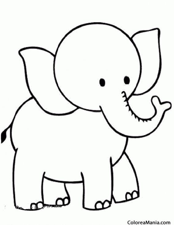 Colorear Elefante De Cabeza Pequeña Animales De La Sabana Dibujo