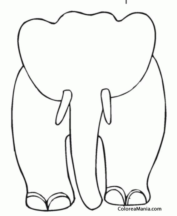 Colorear silueta de elefante de frente animales de la - Siluetas para imprimir ...