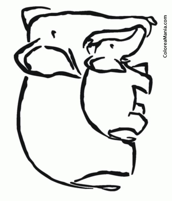 Colorear Mamá Elefante y su cría (Animales de la Sabana), dibujo ...