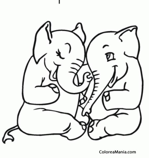Colorear Elefantes Enamorados Animales De La Sabana Dibujo Para
