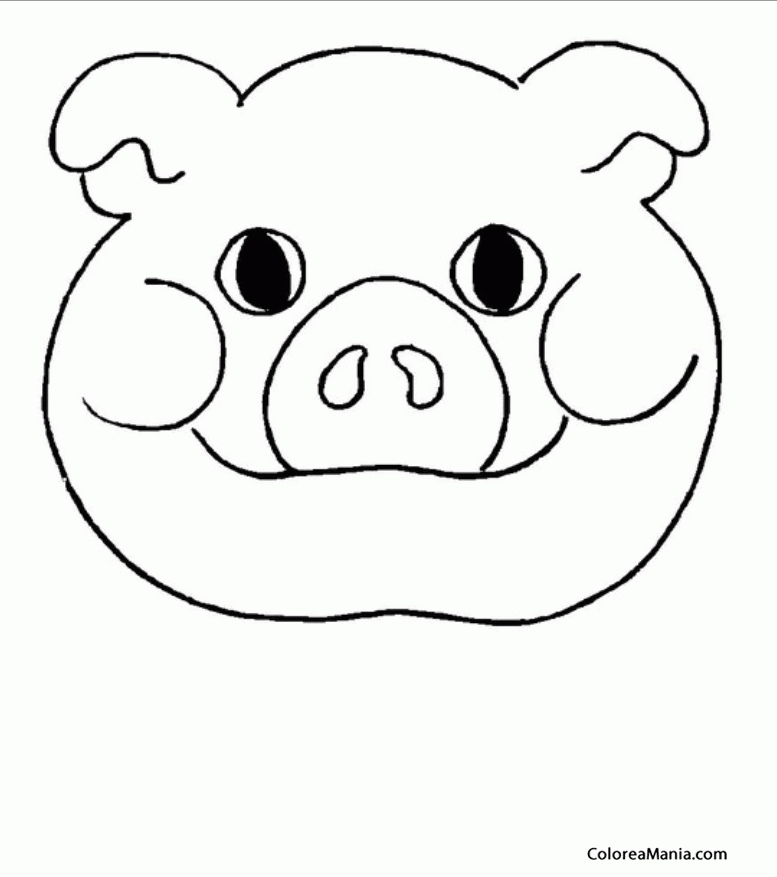 Colorear Careta de cerdo gordito Mscara Careta Antifaz