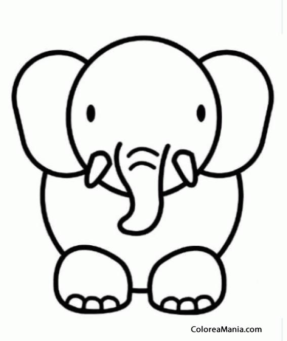 Colorear Dibujar Elefante, crculos (Animales de la Sabana ...