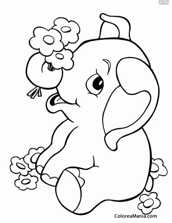 Colorear Bebé Elefante con flores (Animales de la Sabana), dibujo ...