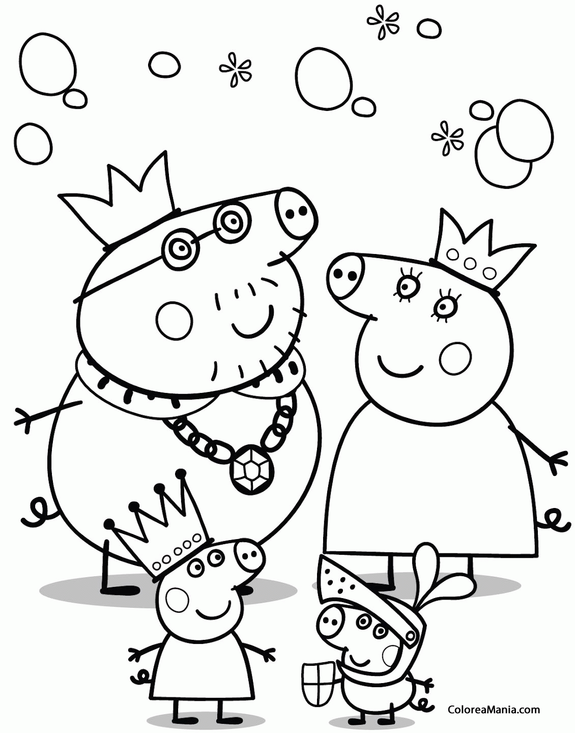 Colorear Peppa Pig príncipes y princesas (Peppa Pig), dibujo para ...
