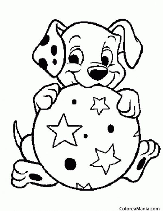 Colorear Perro con pelota (Animales Domésticos), dibujo para ...